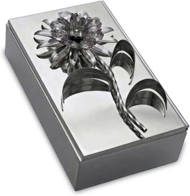 Treta Crystal Flower Box In 925 Silver Makeup and Jewellery Vanity Box