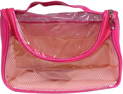 PRETTY KRAFTS Pink Color Transparent PVC Makeup cum Vanity Box