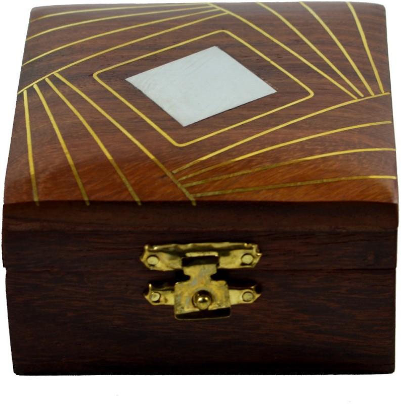 Craftuno Craftuno Handcrafted Wooden Ring Box Decorative Vanity Box(Brown)