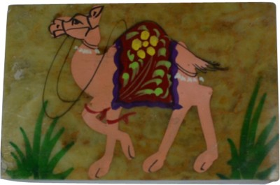 Craftuno Handcrafted Soapstone Box With Camel Painting Work Multipurpose Decorative Vanity Box