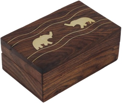 Craft Art India Rectangular Decorative Wooden With Embossed Brass Elephants Jewellery Vanity Box
