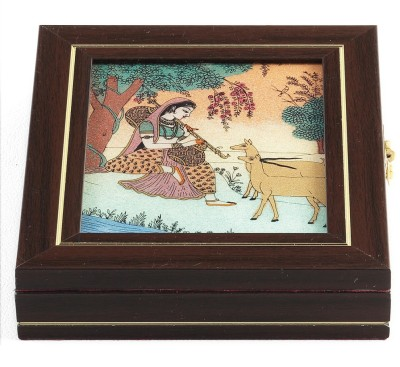 Aapno Rajasthan Indian Girl Musican Gem Box With Stone Inlay Work Jewellery Vanity Box