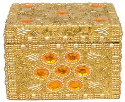 Falak Handicrafts Square Golden Jewellery Box Vanity Box