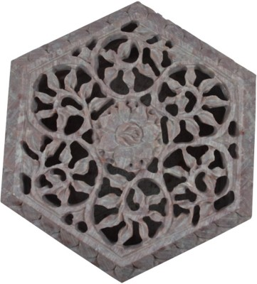 Craftuno Handcrafted Hexagonal Soapstone Box With Floral Carving Multipurpose Decorative Vanity Box