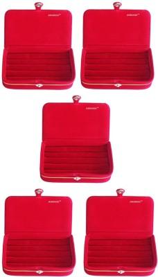 Abhinidi Set of 5 velvet ring storage travelling folder case Box Vanity Box(Maroon)