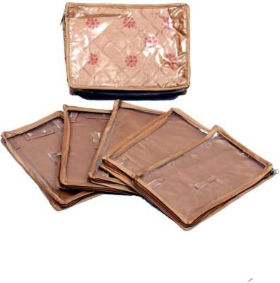 Kuber Industries Locker Jewllery Kit Golden In Quilted Satin Five Flaps Makeup Vanity Box