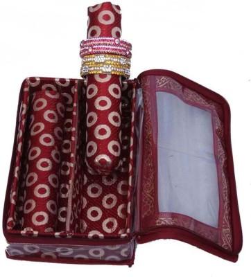Ermani Export Bangle Box 2 Rod in Maroon Brocade Bangle Box Vanity Box
