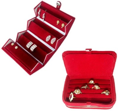Addyz Combo Studs Tops Pocket & Ring Jewellery Vanity Box(Red) at flipkart
