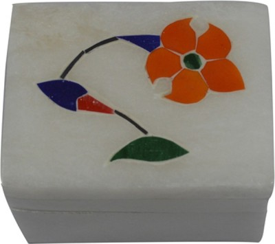 Craftuno Handcrafted Rectangular Marble Box With Inlay Work On Top - Set Of 2 Multipurpose Decorative Vanity Box