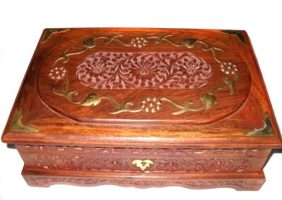 Crafts Paradise Wooden Hand Carved Rectangle Bangle Vanity Box