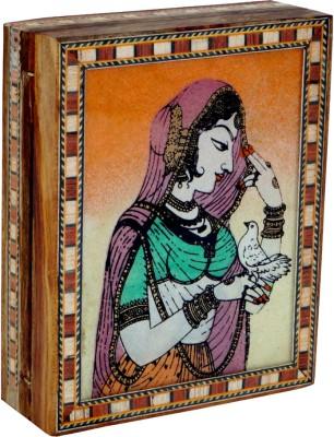 R S Jewels Wooden Rajasthani Ethnic Gem Stone Painting Jewellery Vanity Box