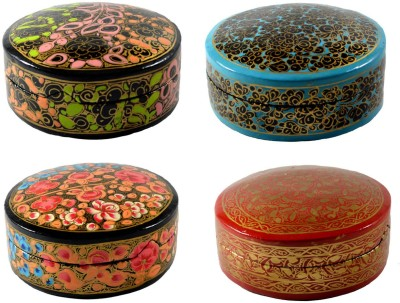Craftuno Handcrafted Paper Mache Box - Set of 4 Showpiece Vanity Box