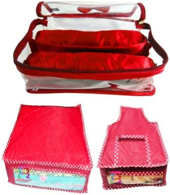 Atorakushon Combo Satin 2 Rods Bangle box Jewellery Box Saree & Blouse Cover Storage Case Vanity Box