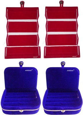 Abhinidi Pack of 4 Combo blue earring folder and red ring Box Vanity Box(Blue, Red)