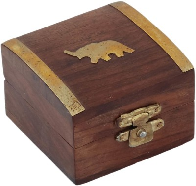 Craft Art India Beautiful Handmade Wooden Storage For Rings With Embossed Brass Elephant Jewellery Vanity Box