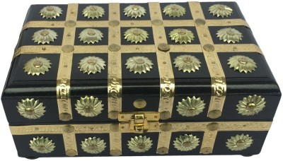 Craft Art India Handmade Small Wooden Jewellery Box with Embossed Brass Design Jewellery Vanity Box