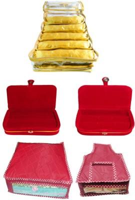 Atorakushon Satin 5 Rods Bangle box, Jewellery Box Ring & Earring boxes with Saree & Blouse Cover Storage Case Vanity Box
