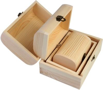 7Trees Sandook Design Pinewood Boxes, 3-in-1, 1 Set Organiser Vanity Box