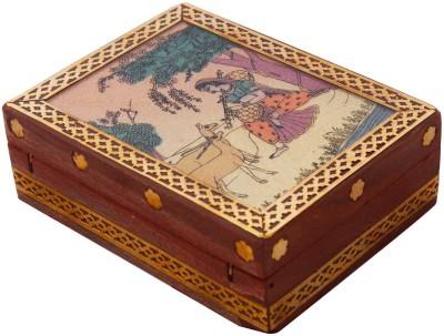 Little Jaipur Gemstone Painting Wooden Jewellery Vanity Box(Multicolour)