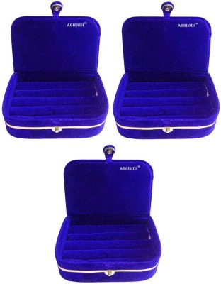 Abhinidi Set of 3 velvet ring storage travelling folder case Box Vanity Box(Blue)