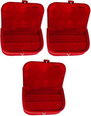 Abhinidi Set of 3 velvet ring storage travelling folder case Box Vanity Box(Maroon)