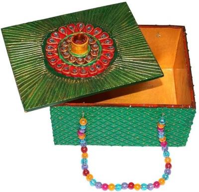 R S Jewels Wooden Multi Color Handmade Indian Handicraft Puja Jewellery Vanity Box