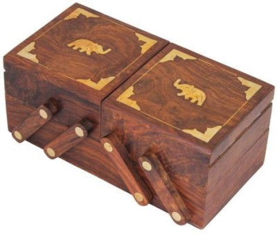 Kartique Hand Made Wooden Multi Utility Jewellery Box Vanity Box
