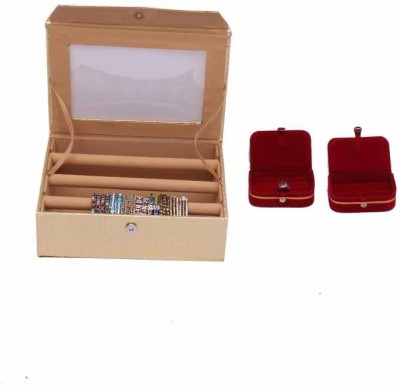 Kuber Industries Bangle Three Roll & ring & Earing Box Jewellery Vanity Box