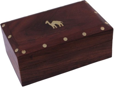 Craft Art India Beautiful With Outstanding Carving Work With Locking System Jewellery Vanity Box(Brown)