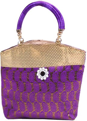 PRETTY KRAFTS Hand Purse Shine (Brocade) Purple Fashion Bag Vanity Box
