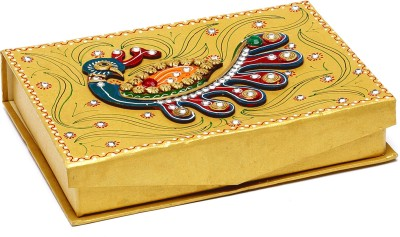 Aapno Rajasthan Gold Handcrafted Multipurpose Wood And Clay Work Box Jewellery Vanity Box