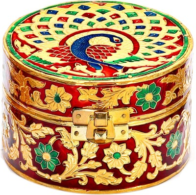 Aapno Rajasthan Peacock & Floral Design With Lock In Front Multiutility Vanity Box
