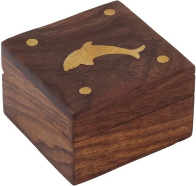 Craft Art India Beautiful Handmade Wooden Storage For Rings With Embossed Brass Dolphin Jewellery Vanity Box