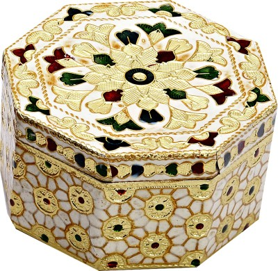 Aapno Rajasthan Beautiful Octagonal Floral Print Makeup, Jewellery Vanity Box