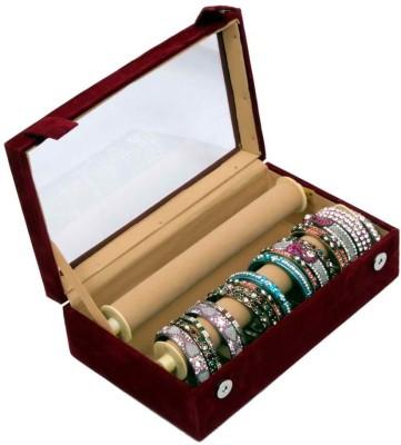 Kuber Industries Bangle Box Maroon Two Roll Makeup Vanity Box