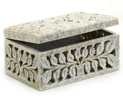 Aapno Rajasthan Stoneware Box With Leaf Design Multiutility Vanity Box