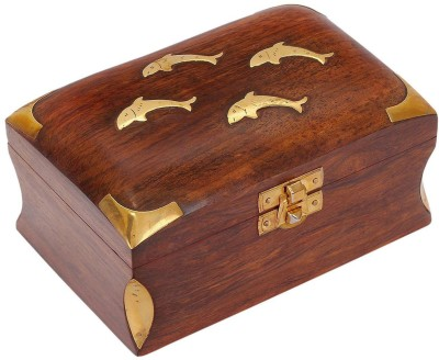 Craft Art India Small Wooden Jewellery Box with Embossed Brass Design Jewellery Vanity Box