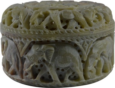 Craftuno Handcrafted Round Soapstone Box With Elephant Carving Multipurpose Decorative Vanity Box