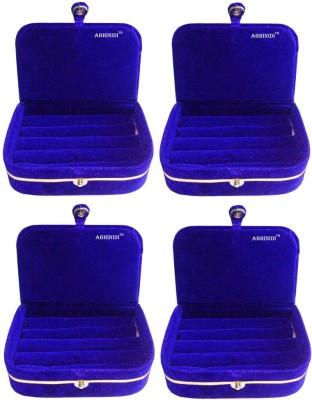 Abhinidi Set of 4 velvet ring storage travelling folder case Box Vanity Box(Blue)