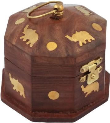 Craft Art India Beautiful Handmade Hexagonal Wooden Storage For Rings With Embossed Brass Camel Jewellery Vanity Box