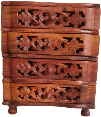 The Woods Hut Hand Carved Wooden Drawers Ethnic Multipurpose Vanity Box