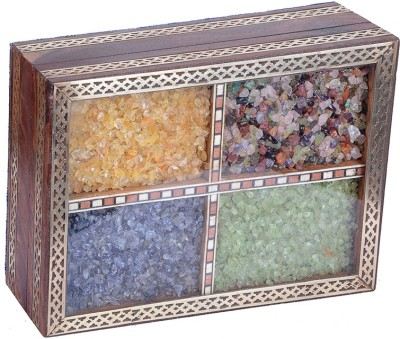 Haveli Arts Precious Gem Stones Wooden Box Jewellery Vanity Box(Multicolor)