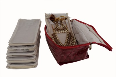 K&P 6 Case Red Satin Locker Kit Big Jewellery Vanity Box