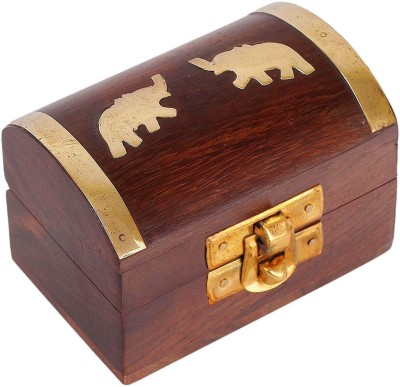 Craft Art India Handmade Wooden Jewellery Storage Box With Embossed Brass Elephant Jewellery Vanity Box