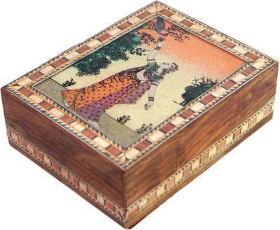 R S Jewels Handmade Designer Gemstone Painting 4 x 3 Jewellery Vanity Box