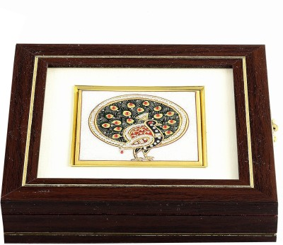 Aapno Rajasthan Stone Inlaywork Peacock Design Square Gem Jewellery Vanity Box
