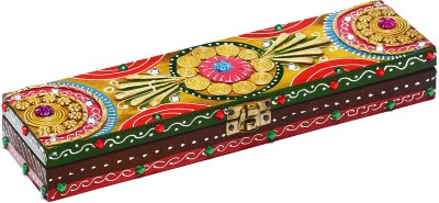 Aapno Rajasthan Traditional Styled Wooden Casket With Intricate Clay Work Jewellery Box Vanity Box