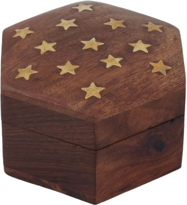 Craft Art India Beautiful Handmade Hexagonal Wooden Storage For Rings With Embossed Brass Camel Jewellery Vanity Box
