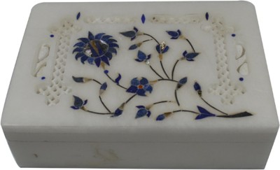 Craftuno Handcrafted Rectangular Marble Box With Inlay Work And Carving On Top Multipurpose Decorative Vanity Box