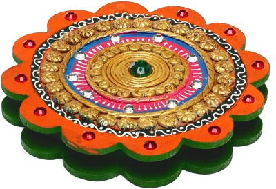 Aapno Rajasthan Floral Design Wooden Clay Work With Compartments Jewellery Vanity Box